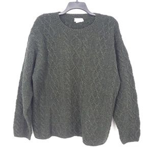 J Crew Green Wool Chunky Cable Knit Sweater  (R)